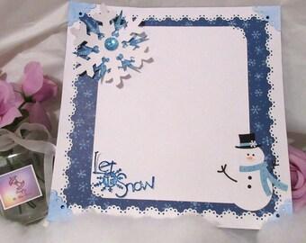 Snowman scrapbook page, Premade 12x12 single layout, 5x7 photo mat, Holiday winter photos