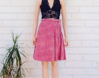 70's INDIAN WRAP SKIRT vintage mini a-line skirt midi skirt hand dyed Indian cotton faded festival dusty rose pink ethnic boho skirt S