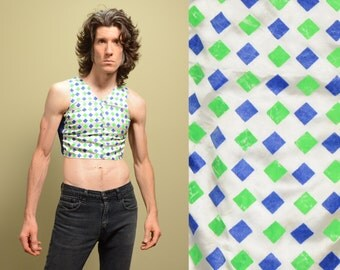 vintage 60s harlequin crop top crop tank top jester raver hippie green blue diamond pattern 1960 half shirt small medium