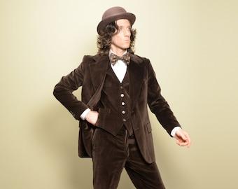vintage 70s brown velvet suit 1970 menswear three piece suit 3 piece brown velvet suit groom wedding 40R 40