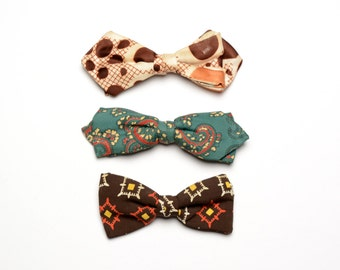 mens vintage bow tie 50s 60s bow tie atomic bowtie 1950 1960 paisley pattern clip on polka dot collection of 3 Wembleu Arrow Hart