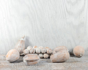 Painted wood fruit, white washed, fruit decor, wooden fruit, hand painted and distressed