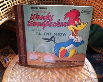 Vintage antique woody woodpecker record albums and story book