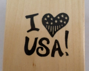 Patriotic I Heart Love The Usa US United States  Wooden Rubber Stamp