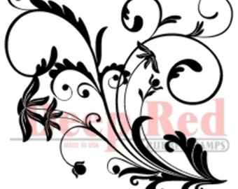 Deep Red Rubber Stamp Flourish with Leaves & swirls