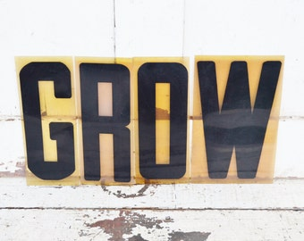 "Vintage GROW Sign Marquee Word Letters Plastic Black 9"" Acrylic Photo Prop Wall Decoration Child's Room Garden"