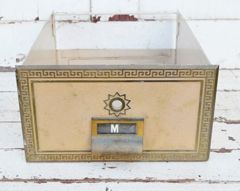 """Vintage US Post Office Box Drawer Letter """"M"""" Metal Brass Tan Greek Key Border Mail Box Container 1960's"""