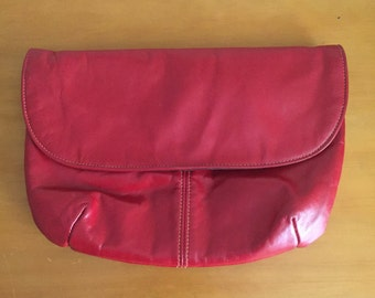 Red Faux Leather Purse Shoulder/Clutch