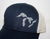 Sparkly Silver 'Great Lakes' Hat - Trucker Hat - Organic/ Recycled Material Hat