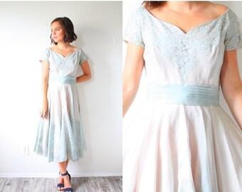 20% OFF HALLOWEEN SALE Vintage lace tea length 1950s dress // colored wedding dress // blue purple organza lace dress // full skirt formal d