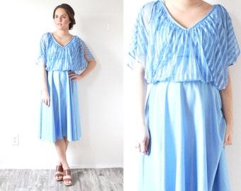 Vintage SMALL blue striped dress // light blue dress // short sleeve modest blue dress // beach dress // mini swim cover up dress cap sleeve