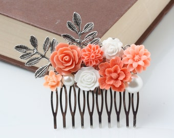 Coral Flower Hair comb, coral wedding hair accessories, vintage style hair comb, bridal hair comb, rustic wedding accessories, hair piece