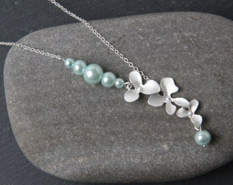 Mint Bridesmaid Necklace, Silver Orchid necklace, mint flower necklace, Bridesmaid Gift, Mint Wedding Necklace, Bridal necklace, mint pearls