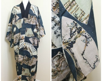Japanese Vintage Kimono Juban. Silk Robe. Traditional Scenes with Turquoise Blue. (Ref: 1341)