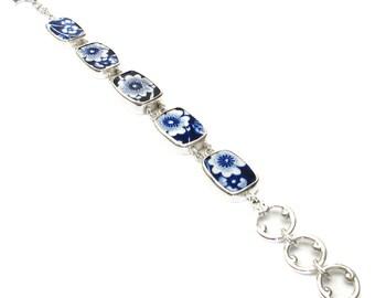 Broken China Jewelry Burleigh Blue Calico E Sterling Silver Bracelet