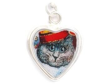 Broken China Jewelry Grey Gray Kitty Cat Charm 63