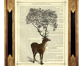 Deer Tree growing from Antlers Stag - Vintage Victorian Book Page Art Print Steampunk Surrealism