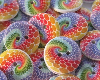 Round Rainbow Wood Buttons Lot of 5