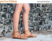 LAST SALE 20% OFF Comfortable Leather Sandals Ankle Strap, Strappy Handmade Gladiator Greek Roman - Blaze