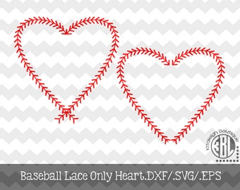 Baseball Lace Only Hearts INSTANT DOWNLOAD dxf/svg/eps for use with programs such as SilhouetteStudio and Cricut Design Space