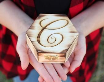 Rustic Ring Box Monogram Engraved Ring Box Wood Ring Box Rustic Wedding Ring Box DownInTheBoondocks