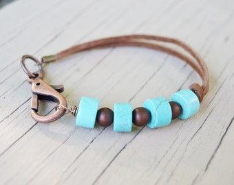 TURQUOISE HOWLITE Brown Suede Leather Copper Clip Bracelet