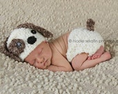 Baby Puppy Hat and Diaper Cover Set crocheted in choice of 2 color combos--Perfect Newborn Photo Prop or Halloween Costume