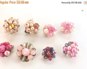 MOVING SALE Half Off Destash  Craft Lot of Vintage and Salvaged Beaded Pink Bob Cluster Earrings