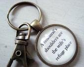 A husband's shoulders are the wife's refuge place key chain, gift for husband, husband keychain, husband