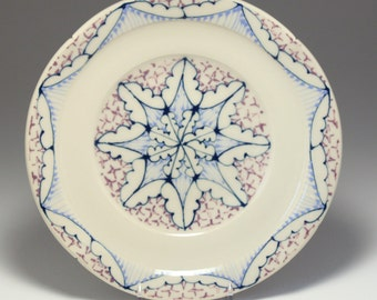 Wheel Thrown Handmade Ceramic Sandwich Plate with Navy, Sky and Purple Pattern