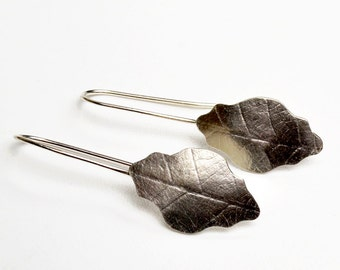 Sterling Silver Leaf Shaped and Textured Earrings