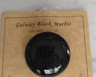Handmade Irish Galway Black Marble Brooch Triskelion Hand Carved Gorgeous