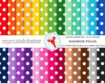 Rainbow Polka Digital Paper Set - polka paper, dot paper, polka dot, rainbow polka - personal use, small commercial use, instant download