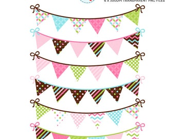 Blue, Green & Pink Bunting Clipart Set - clip art set of bunting, patterned bunting - personal use, small commercial use, instant download