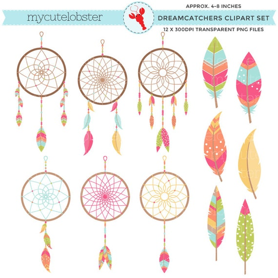 Dreamcatchers Clipart Set - clip art set of dreamcatchers, feathers, tribal, dreams - personal use, small commercial use, instant download