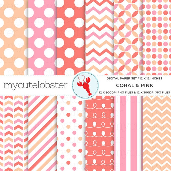Coral & Pink Digital Paper Set - patterned paper, polka, stripes, chevron, swirl - personal use, small commercial use, instant download