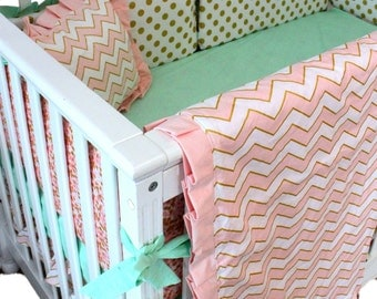 Pink and Gold Baby Bedding Sets - Mint - Baby Bedding Sets - Customizable