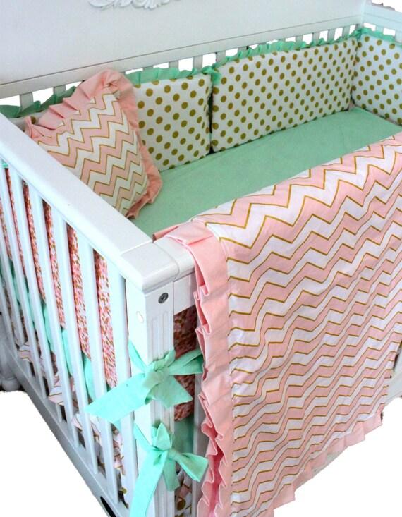 pink and gold baby bedding sets mint baby bedding sets. Black Bedroom Furniture Sets. Home Design Ideas