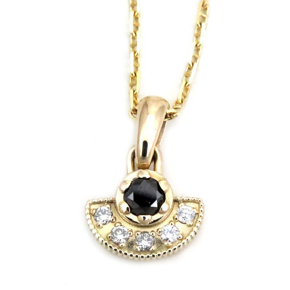 Tiny Black and White Diamond Pendant - 14k Yellow Gold Fan Necklace