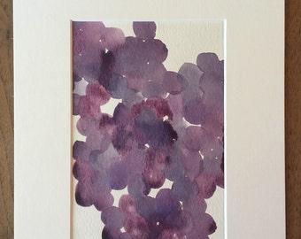 5x7 inch Original Grapes Watercolor Painting.