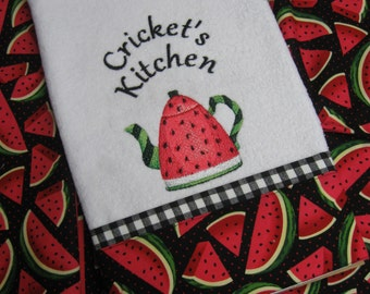 "Handmade embroidered "" Watermelon Teapot"" hand towel"