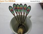 Summer Sale Antique Sterling Silver Spoons Kjaerland Plique a Jour Spoons Set of Six Circa 1900