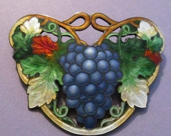 Summer Sale Antique Sterling Silver Cloisonne Grapes Brooch Art Nouveau Enamel Pin Circa 1910