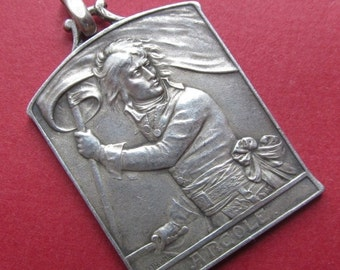 On Sale Napoleon Silver Antique French Art Medal Pendant By L O Mattei Circa 1900  SS462