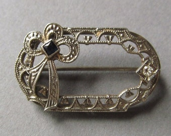 ON SALE Art Deco Filigree Brooch 10 Karat White Gold Diamond Sapphire Pin Jewelry