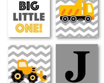 Construction Nursery Decor // Construction Wall Art // Trucks Art Prints // Art for Boys Room // Four PRINTS ONLY