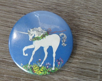 Vintage 1970's Peace Love and Happiness Unicorn Hippie Pin Pinback Button