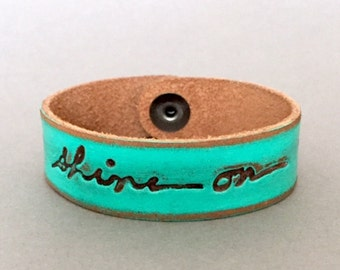"SPRING SALE!! / 20% OFF!! / ""Shine On"" Distressed Turquiose Leather Monogram Bracelet by Jessica Galindo"