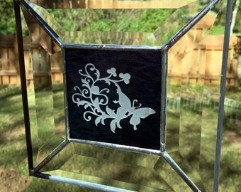Contemporary Stained Glass Panel - Sandblasted Butterfly Blue (PLG038)