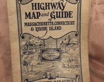 1930's Massachusetts, Connecticut & Rhode Island Highway Map Mid-West Map Company